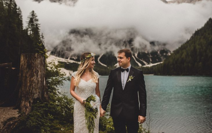 Lago di Braies wedding photographer Dolomites Italy